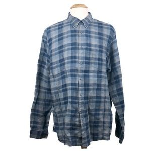 John Varvatos Linen Blue Plaid Button Down 2XL